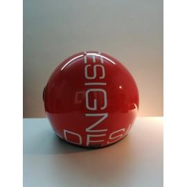 Casco DEMI-JET con scritta AL DESIGN colore ROSSO-BIACNO lucido