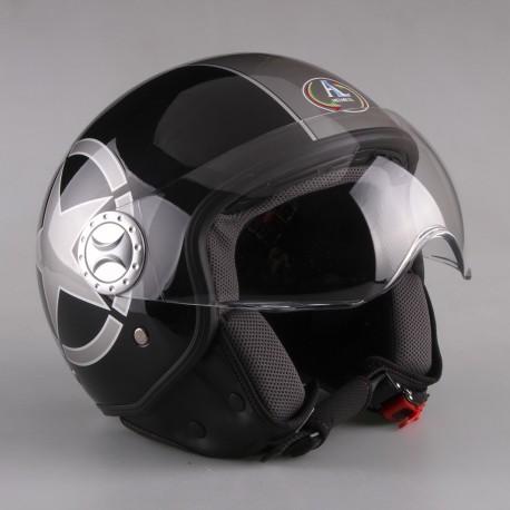 CASCO DEMI-JET MOD 101 COLORE NERO GRAFICA UP VERDE MISURA S AL Helmets