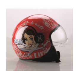 Casco DEMI-JET grafica motociclista CRAZY ROSSO road To Live