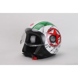 Casco DEMI-JET grafica Top Gun Verde lucido